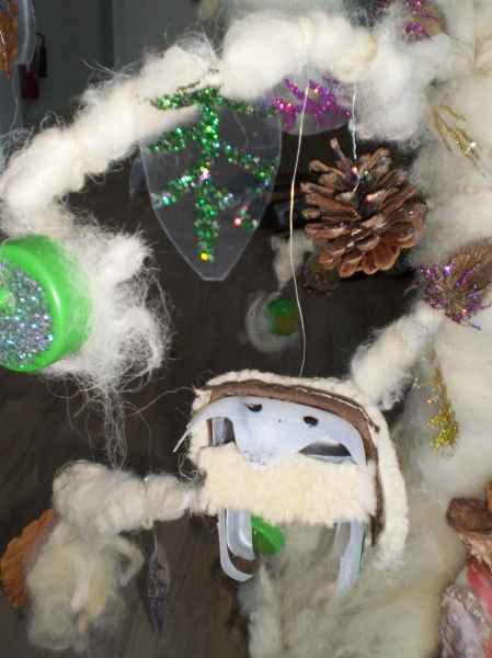 Detail of a sheep made from re-cycled materials on the 'Lookers Tree'